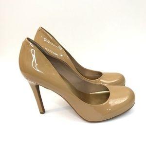 Jessica Simpson Calie Tan Patent Leather Heels 8.5